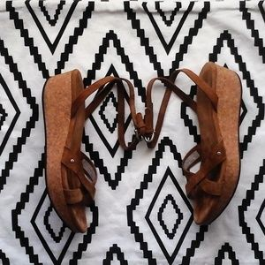 Ugg Australia Leather Cork Wedge Sandals